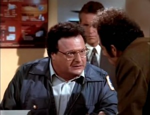 Newman of Seinfeld in postal uniform